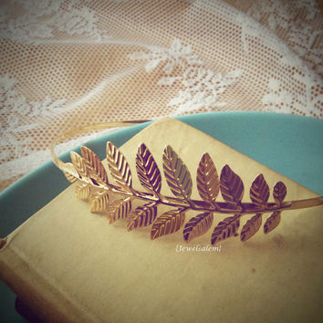 Gold Wedding Headband Leaf Hairband Sprig Branch Headpiece Gold Leaves Bridal Hair Bohemian Romantic Grecian Statement Vintage Style JW WR