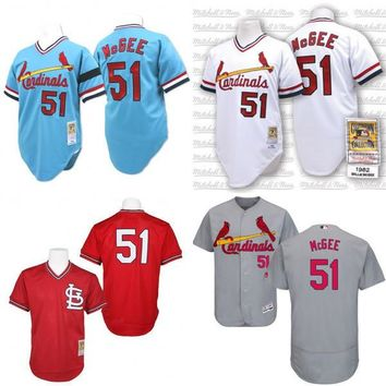 Grey white blue cream 1967 Throwback Willie McGee Authentic Jersey , Men's #51 Mitchell And Ness St. Louis Cardinals