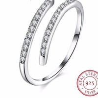 925 Sterling Silver Adjustable Toe Ring CZ Stone