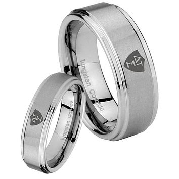 Bride and Groom Greek CTR Step Edges Brushed Tungsten Carbide Mens Ring Set