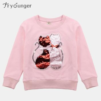 Autumn T-Shirt Girls Long Sleeve T-Shirt For Girls Sequins Cat Kids Top Winter Children's Shirt Teen Girls Clothing 6 8 12 Years