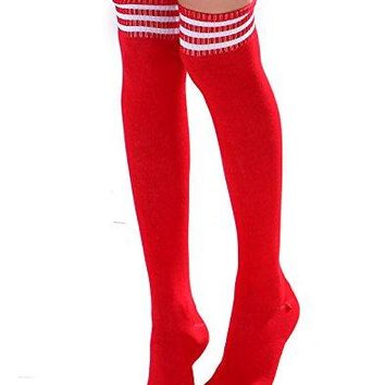 HDE Women Three Stripe Over Knee High Socks Extra Long Athletic Sport Tube Socks