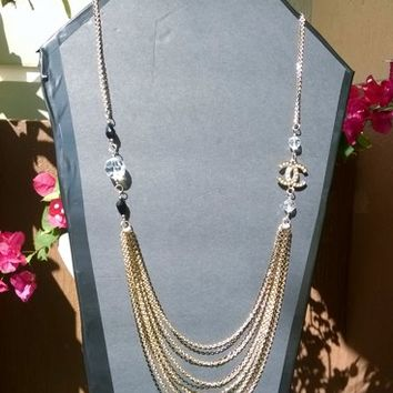 Gorgeous Gold and Black Designer Inspired Chain Necklace