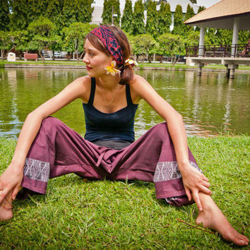 Thai Fisherman Pants, Cotton, Purple w Details UNISEX(S-XL) one size fits all