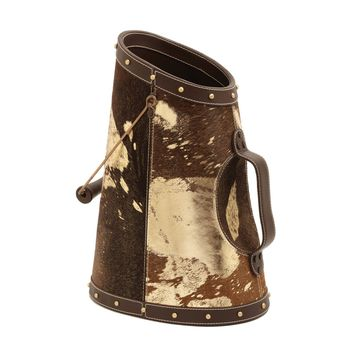 Gold Metallic Faux Pony Coal Bucket