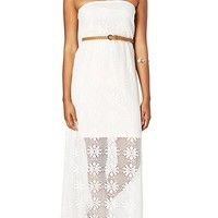 Belted Crochet Tube Maxi Dress