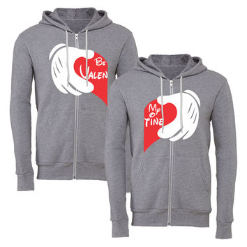 be my valentine heart matching couple zipper hoodie