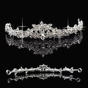 Wedding Elegant Bridal Prom Crystal Butterfly Flower Crown Headband Veil Tiara Headpiece = 1932865604