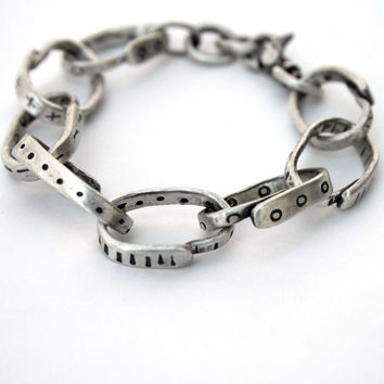 Sterling Silver Large Link Bracelet Heavy Chain Recycled Silver Tribal Pattern - Fork It Over III