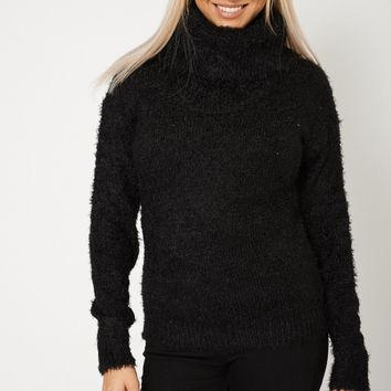 Cowl Neck Fluffy Jumper