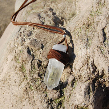 Echoz Leather Wrapped Crystal Quartz Necklace