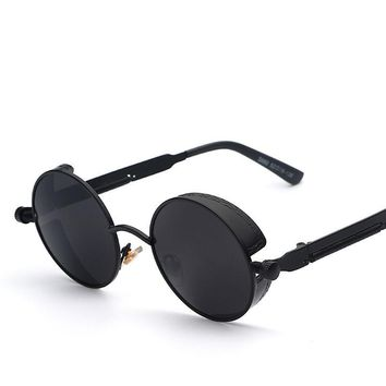 Steampunk Mirror Lens Round Sunglasses