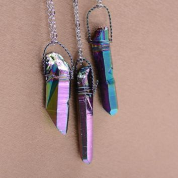 Silver Plated Multicolor Natural Stone Necklace