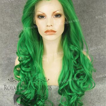 """26"""" Heat Safe Synthetic Lace Front in Curly Texture """"Calypso"""" in Green"""