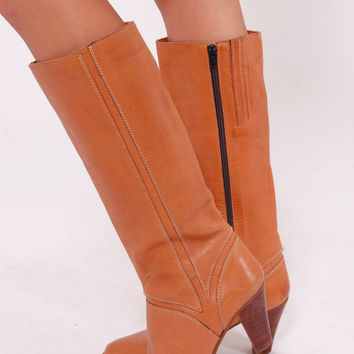 Vintage 70s Leather BOHO Boots Caramel Knee High Hippie Boots Size 10