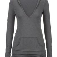 Hooded Pullover With Thumb Holes - Gray