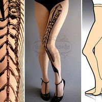 S/M Fish Bone tattoo tights / stockings/ full length / pantyhose / nylons ultra pale