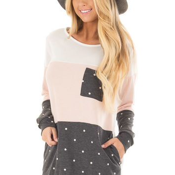 Blush Top with Charcoal Polka Dot Contrast and Side Pockets
