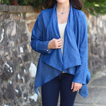 Waterfall Sweater Back Chambray Cardi {Denim}
