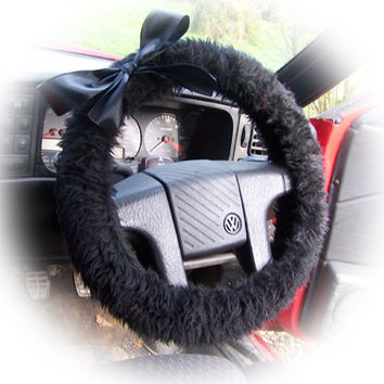 Cute Black fluffy faux fur car steering wheel cover with Black satin Bow