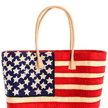 USA Flag Madagascar Handicraft Straw Shopper Bag