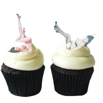 The Original Edible Pinup Girls - 12 Cupcake Toppers - Cake Decorations - For Him - Pin Up - Cake Topper