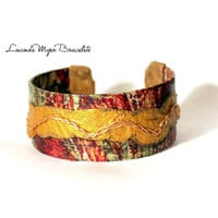 woman's cuff bracelet, different, multicolored, exclusive, multi-colored, red, green, gold,