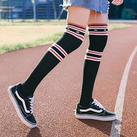 Winter Women Fashion All-match Multicolor Star Stripe Stockings Thigh Socks Highs Socks
