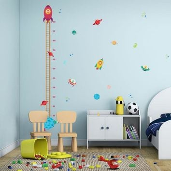 Space Airship Baby Growth Chart Wall Stickers Rocket Star Measurement Decal For Boys Room Nursery Height Stadiometer Decor Mural