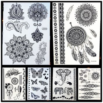 25 Styles Non-Toxic Women Henna Tattoo Black Fake Lotus Mandala Flower Body Arm Art Waterproof Temporary Tattoo Stickers HBJ040