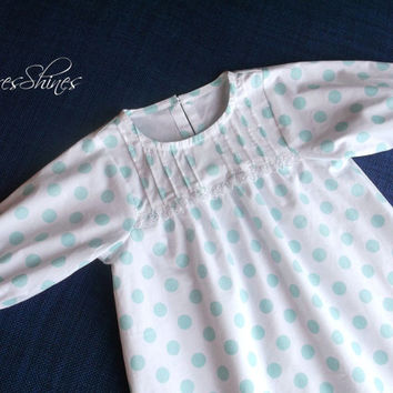 Organic cotton girls sleepwear turquoise on white polka dot  4 to 6 years kids night gown