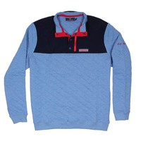 Custom Quilted Snap Placket Shep Shirt in Bimini Blue by Vineyard Vines - FINAL SALE