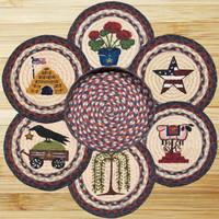 Summer Round Trivets in a Basket (Set of 7)
