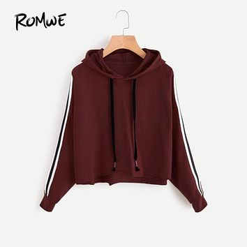 ROMWE Stripe Tape Drop Shoulder Marled Long Sleeve Hooded Sweatshirt 2018 Burgundy Women Autumn Drawstring Sweatshirt