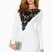 White And Black Lace Bodycon Dress