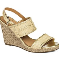 Vanessa Raffia Wedge in Gold by Jack Rogers - FINAL SALE
