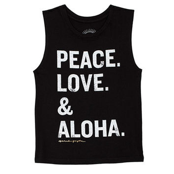 girls peace love aloha tank