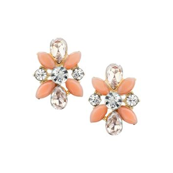 Coral and Champagne Cluster Stud Earrings