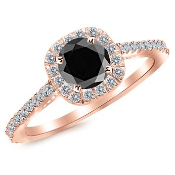 CERTIFIED | 2.35 Carat 14K Gold Gorgeous Classic Cushion Halo Style Diamond Engagement Ring 14K Gold with a 2 Carat Round Cut AAA Quality Black Diamond (Heirloom Quality) (Yellow, White, Rose)