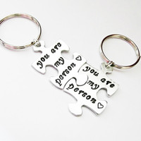 Hand Stamped Relationship You're my person Puzzle Key Chain Matching Set his her his his her her I'm Your Person Puzzle Piece Keychain Combo