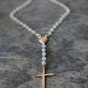 Moonstone Rosary Necklace, White Gemstone, Rosary Style, 14k Gold Filled, Rainbow Moonstone Jewelry, Healing Stone