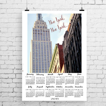 Calendar 2015, travel photography, New York photography, wall calendar, NYC architecture, Empire State Building, one page year calendar