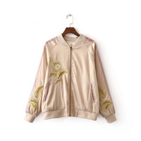 The new autumn gold thread embroidery flight jacket baseball uniform jacket cotton jacket