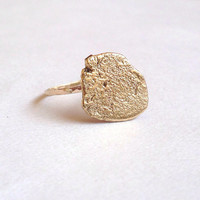 Gold Stone Ring - Recycled Ring - 9 Carat - Rock - Pebble - Raw Gold Jewellery - Organic Texture