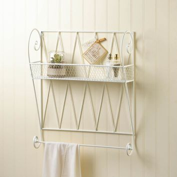 Whitewashed Iron Wall Shelf With Towel Bar