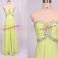 2014 long kelly chiffon prom dresses with sequis,unique chic women gowns in hand made,cheap dress for party hot.