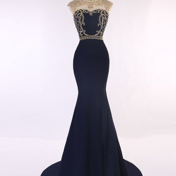 Scoop Neck Gold Crystals Beaded Navy Blue Mermaid Prom Dresses Sexy Backless Long Fitted Prom Dresses Robe De Soiree