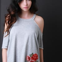 Cold Shoulder Floral Embroidered Patch Top