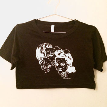 DOOMED LOVERS- American Apparel Black Crop tee- one size