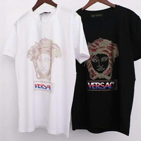 Versace new tide brand hot drilling cotton casual wild round neck T-shirt top white
